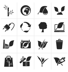 Black Environment and Conservation icons vector image vector image