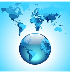 Globe on blue World map vector image vector image
