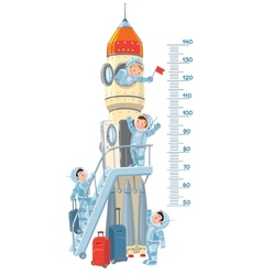 Meter wall with rocket and boys-astronauts vector image vector image