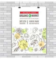 Organic food poster template vector