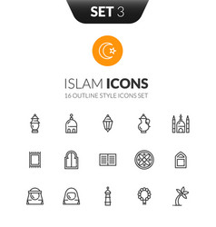 outline black icons set in thin modern style vector image vector image
