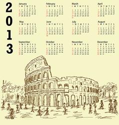 rome colosseum vintage 2013 calendar vector image vector image