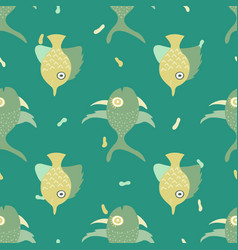 seamless pattern with lovely hand-drawn fishes vector image