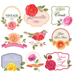 Vintage labels with flowers and bird vector image vector image