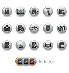 Books Icons MetalRound Series vector image vector image