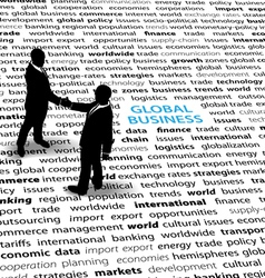 business people stand on a text page to shake hand vector image vector image