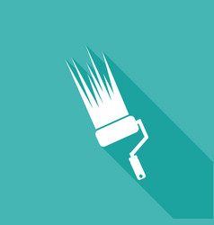 icon paint roller on long shadow vector image