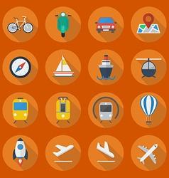 Transportation Flat Icon Set vector image