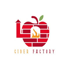apple cider with brick oven concept design vector image