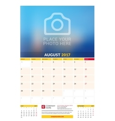 August 2017 Wall Monthly Calendar for 2017 Year vector image