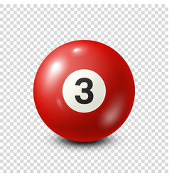 Billiardred pool ball with number 3snooker vector