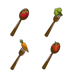 Organic vegetables with spoons icon vector