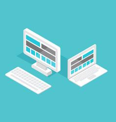 responsive pc flat design modern seo vector image