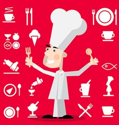 Chef Cartoon with Restaurant Menu Icons on Red vector image