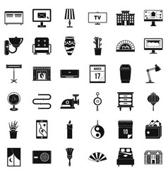 decor icons set simple style vector image vector image