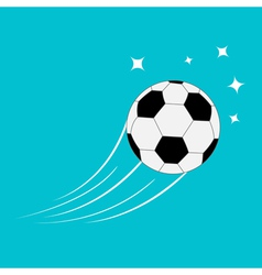 Flying football soccer ball motion trails stars 2 vector image
