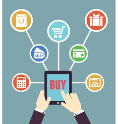 Internet shopping Mobile order and payment vector image vector image