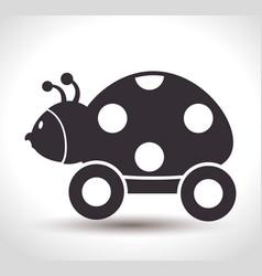 ladybug with wheels baby toy vector image