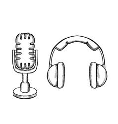 Retro headphones and desktop microphone vector image vector image