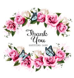 Thank You background with beautiful roses and vector image vector image