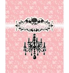 Wedding invitation card with luxury chandelier vector image