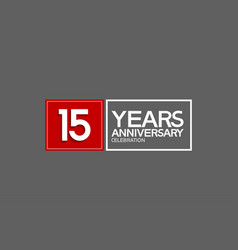15 years anniversary in square with white and red vector