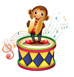 A monkey above a drum with cymbals vector