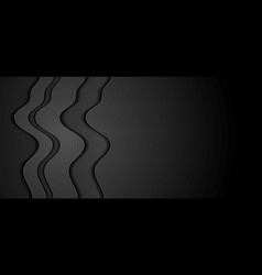 Abstract black wavy concept tech banner design vector