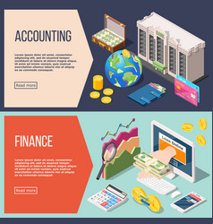 Accounting isometric banners set vector