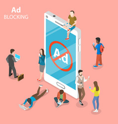 Ad blocking flat isometric concept vector
