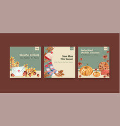 Ads template with autumn daily concept design vector