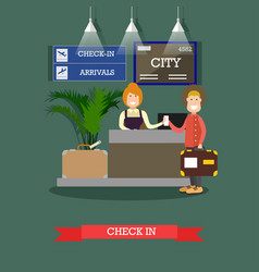 airport check-in in flat style vector image