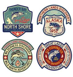 alaska and canada fly fishing sport badges vector image