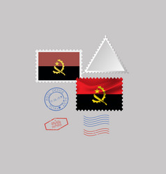 Angola flag postage stamp set isolated on gray vector