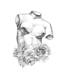 antique sculpture venus with peonies flowers vector image