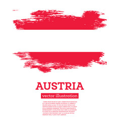 Austria flag with brush strokes independence day vector