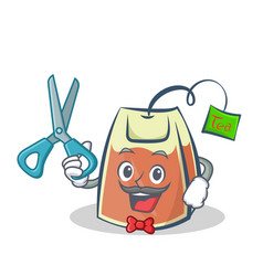 Barber tea bag character cartoon vector