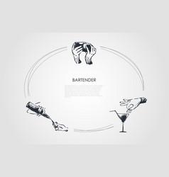 bartender - hands of bartender shaking cocktail vector image