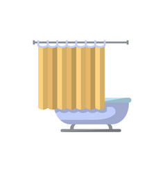 Bathtub with shower curtain icon in flat style vector