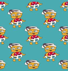 beautiful colored ducks baseamless pattern vector image