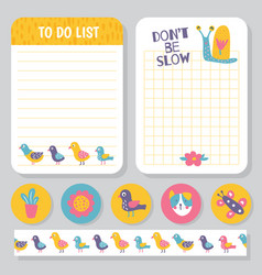 birds planner notes vector image