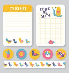 Birds planner notes vector