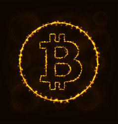 Bitcoin digital currency silhouette of lights vector