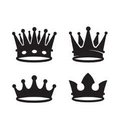 Black crown icons vector