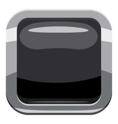 Black square button icon cartoon style vector image