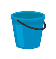 blue plastic bucket with a black handle isolated vector image
