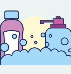 bottle liquid soap and shampoo bubbles foam vector image