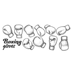 Boxing gloves for sport competition set ink vector