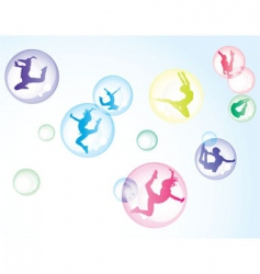 bubbles with girls vector image