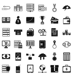 Business card icons set simple style vector